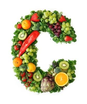 The letter C made out of fruit